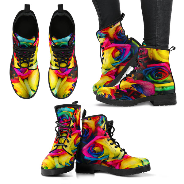 Rainbow Roses - Leather Boots for Women
