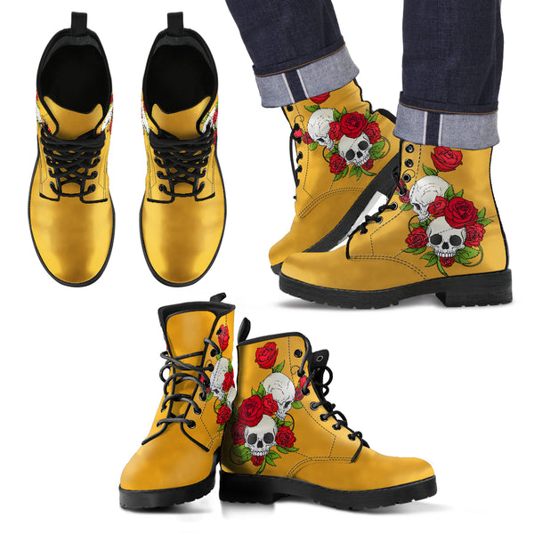 Skull Couple Roses (Mango Mojito) - Leather Boots for Men
