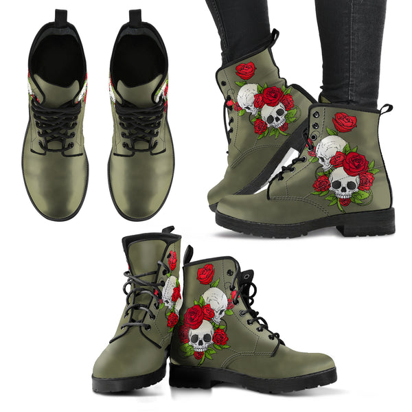 Skull Couple Roses (Terrarium Moss) - Leather Boots for Women