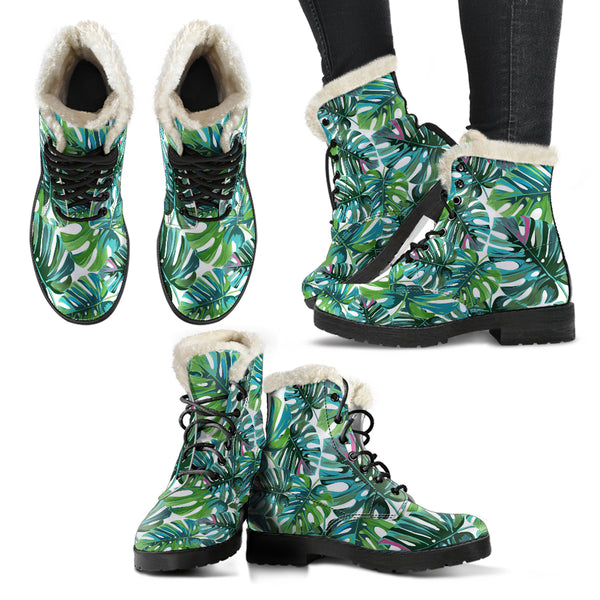Tropical Leaf - Vegan Fur Leather Boots