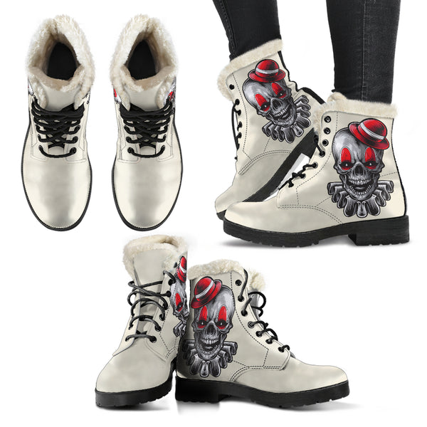 Clown Skull (Sweet Corn) - Vegan Fur Leather Boots