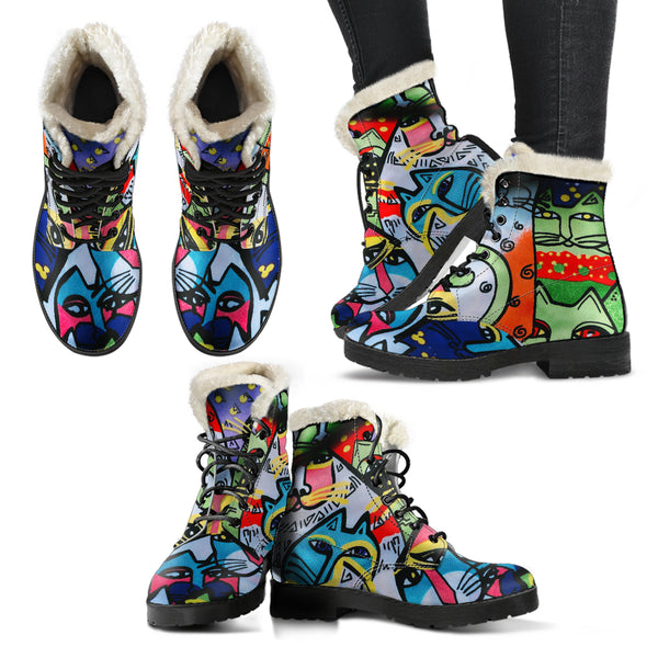 Street Art Cats MB32472 - Vegan Fur Leather Boots