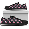 Floral Grey Roses & Peonies - Low Top Canvas Shoes
