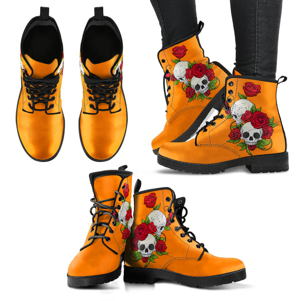 Skull Couple Roses (Turmeric) - Leather Boots for Women
