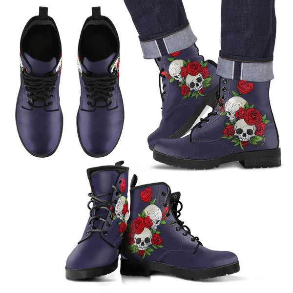 Skull Couple Roses (Eclipse) - Leather Boots for Men