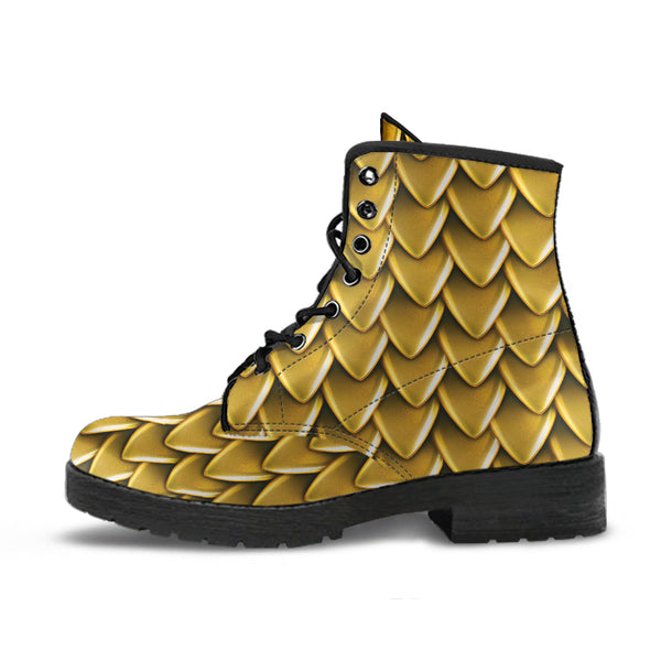 Fantasy Dragon Scales (Mustard) - Vegan Leather Boots