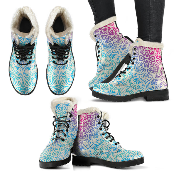 Bohemian Blue Ombre (Sweet Corn) - Vegan Fur Leather Boots