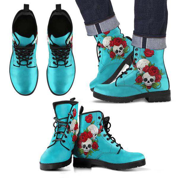 Skull Couple Roses (Dark Turquoise) - Leather Boots for Men