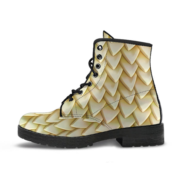 Fantasy Dragon Scales (Cream) - Vegan Leather Boots