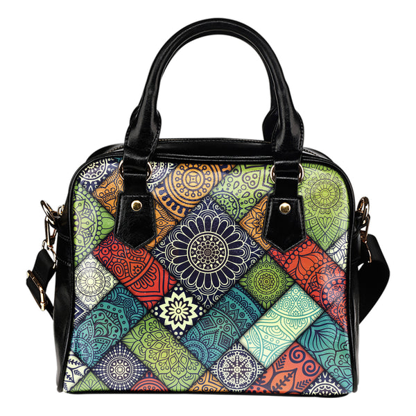 Diagonal Floral Tiles - Boston Handbag