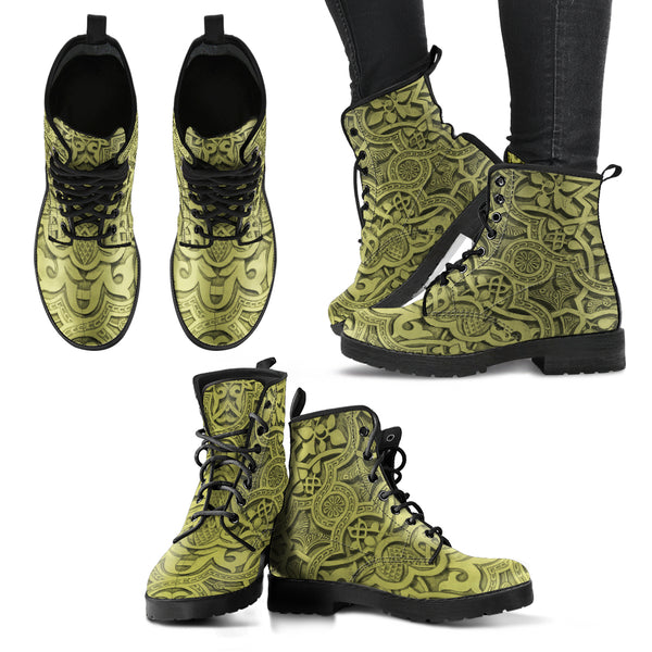 Vintage Mandala Ceilings in Olive Green - Leather Boots for Women, SHOES, MCB Buys