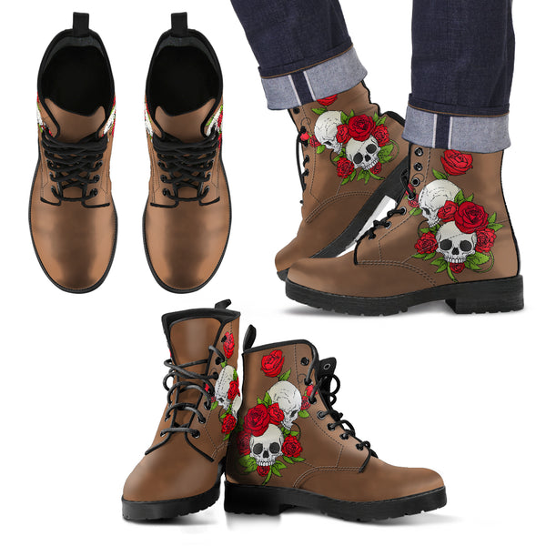 Skull Couple Roses (Toffee) - Leather Boots for Men