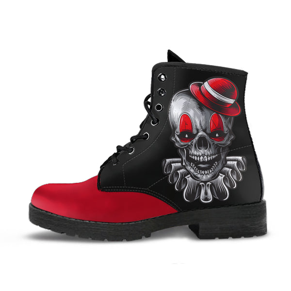 Clown Skull (Red) - Vegan Leather Boots
