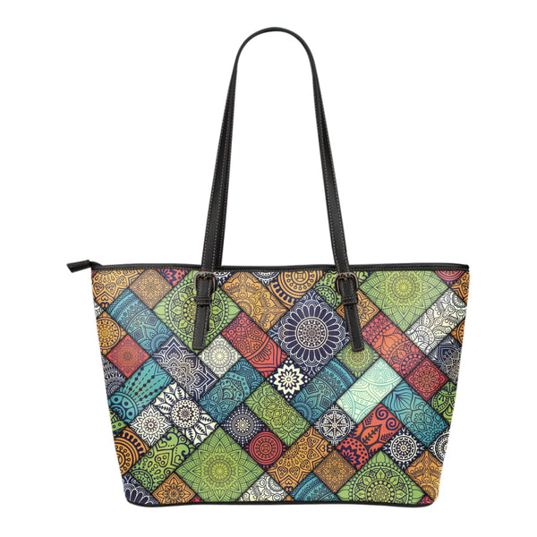 Diagonal Floral Tiles - Small Vegan Leather Tote