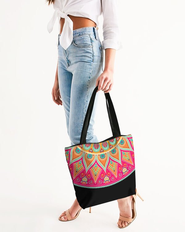 Scalloped Mandala P2 - Canvas Zip Tote