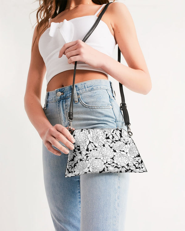 Vintage Floral Sketch (Black on White) - Wristlet