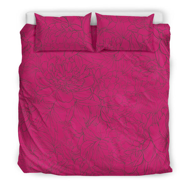 Vintage Floral Sketch (Pink Peacock) - Bedding Sets