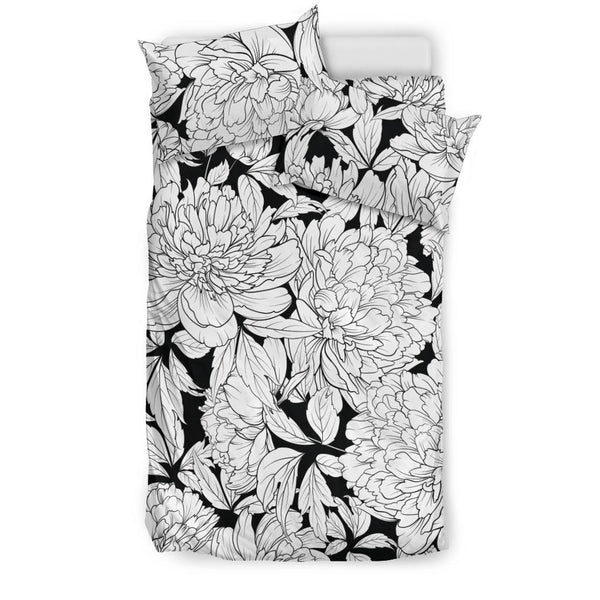 Vintage Floral Sketch (White on Black) - Bedding Sets