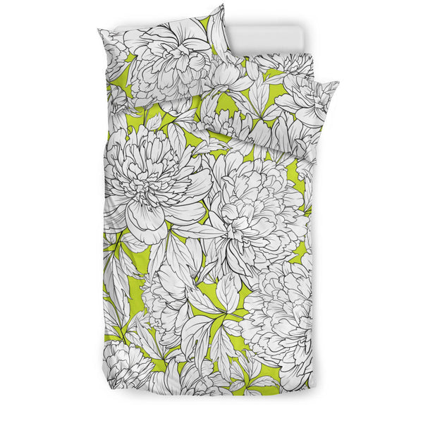 Vintage Floral Sketch (White on Chartreuse) - Bedding Sets
