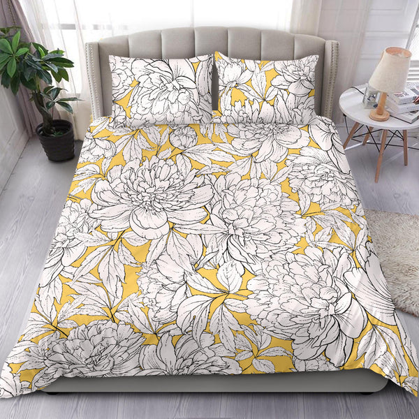 Vintage Floral Sketch (White on Aspen Gold) - Bedding Sets