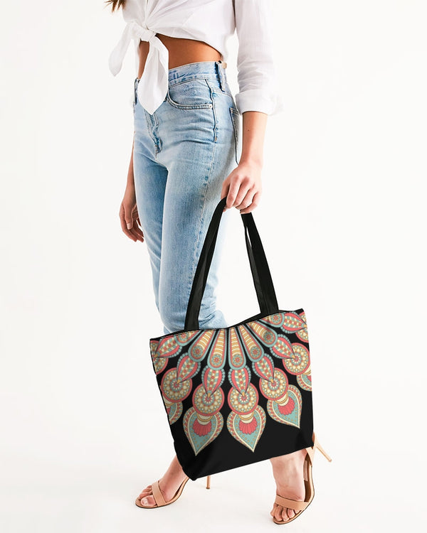 Scalloped Mandala P3 - Canvas Zip Tote