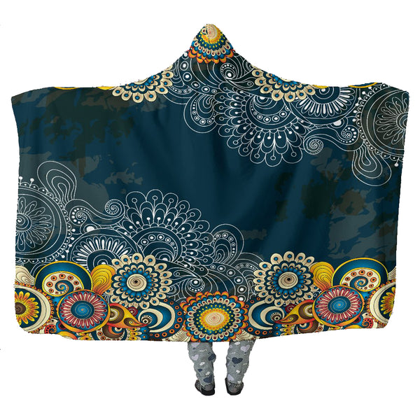 Blue Henna Flowers - Hooded Blankets