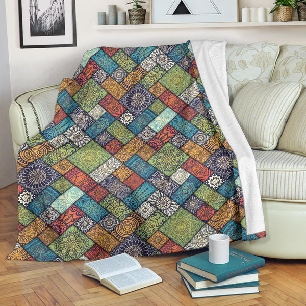 Diagonal Floral Tiles - Throw Blankets