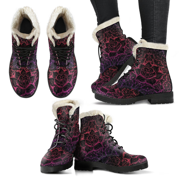 Zen Vibrations - Faux Fur Leather Boots, SHOES, MCB Buys