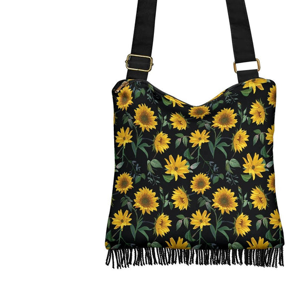 Sunflower Fields (Black) - Crossbody Boho Bag