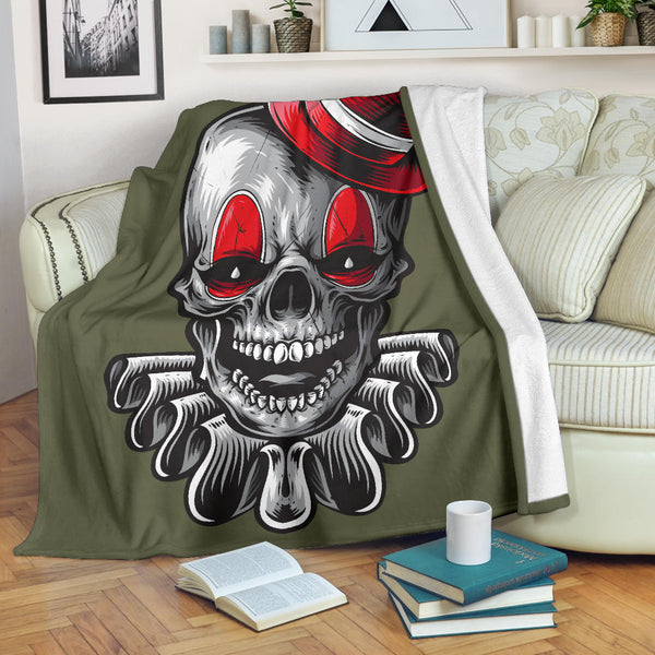 Clown Skull (Terrarium Moss) - Throw Blankets