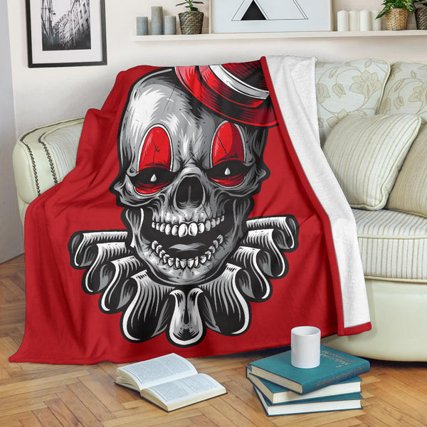 Clown Skull (Red) - Throw Blankets