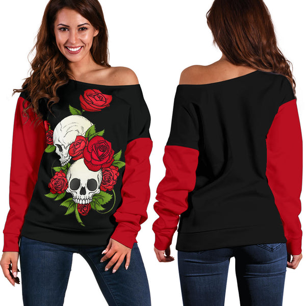 Skull Couple Roses Red Sleeve - Women's Off Shoulder Sweater