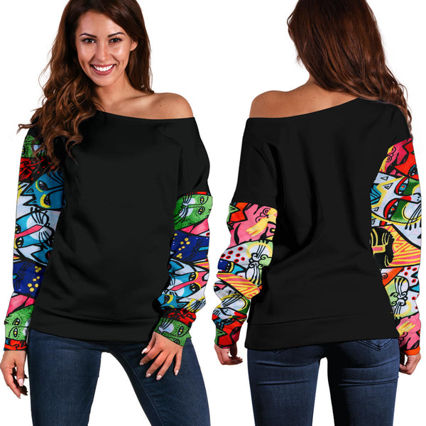 Street Art Cats MB32472 Sleeve Black - Women's Off Shoulder Sweater