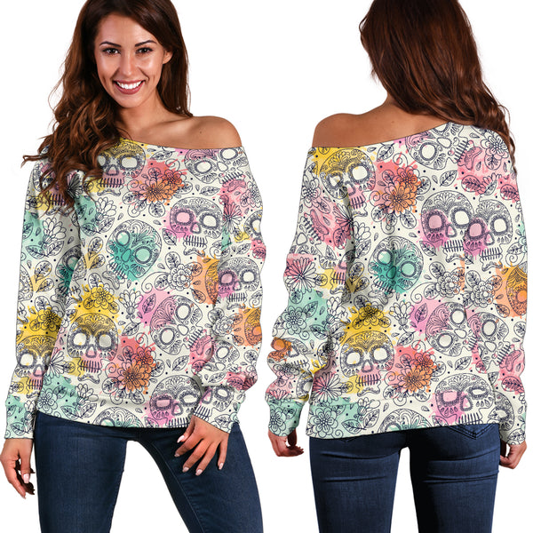 Watercolour Sugar Skulls - Women's off Shoulder Sweater, APPAREL, MCB Buys