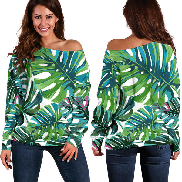 Tropical Leaf - Women's Off Shoulder Sweater