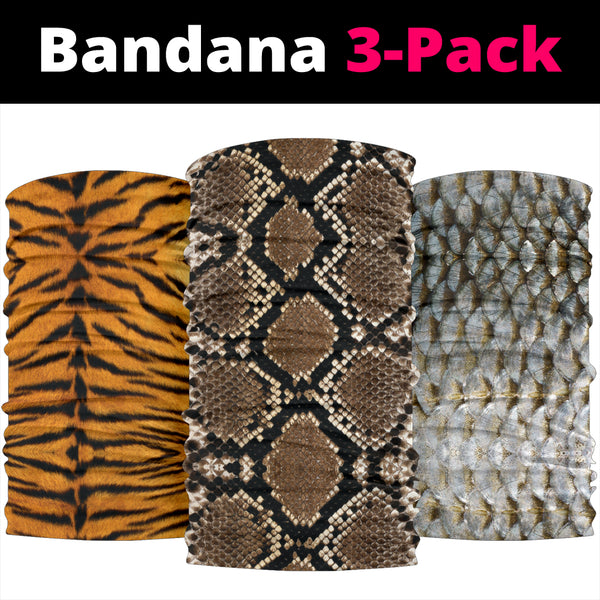 Animal Textures (Fish, Snake, Tiger) - Bandana 3 Pack