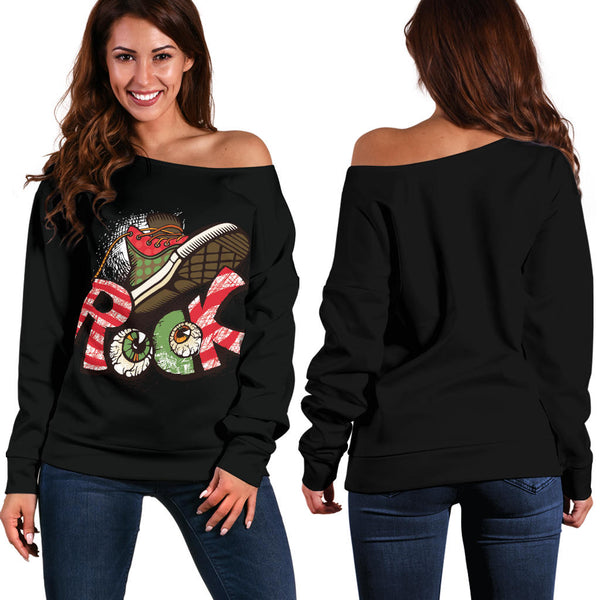 Rock Boot (Black) - Women's Off Shoulder Sweater