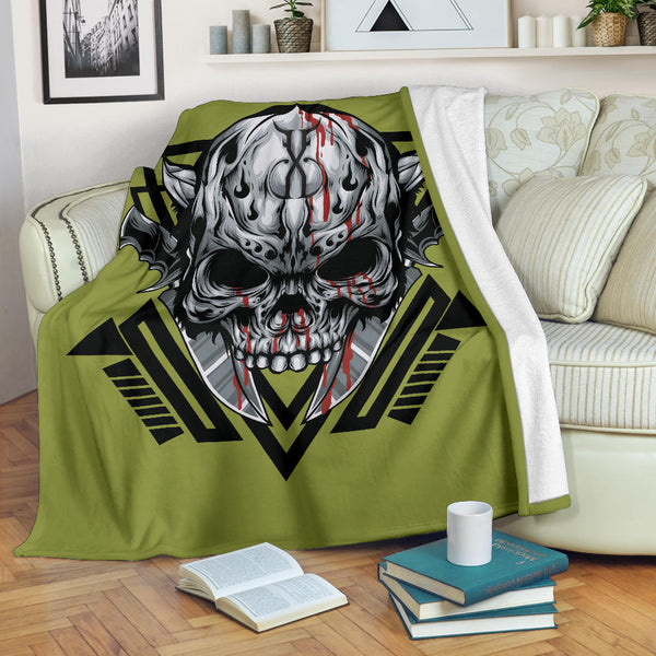 Gangster Skull (Pepper Stem) - Throw Blankets