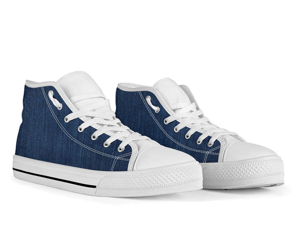 Shades of Dark Denim - High Top Canvas Shoes