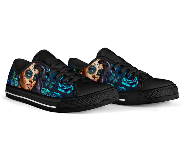 Calavera Turquoise - Low Top Canvas Shoes