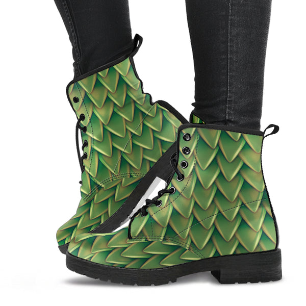 Fantasy Dragon Scales (Moss) - Vegan Leather Boots