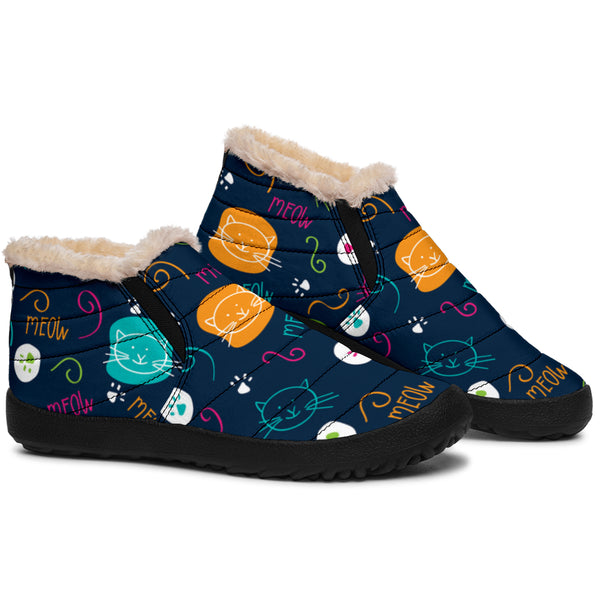Kitty Cats Meow (Blue) - Winter Ankle Casuals