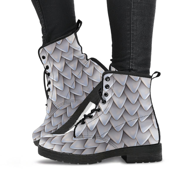 Fantasy Dragon Scales (White) - Vegan Leather Boots