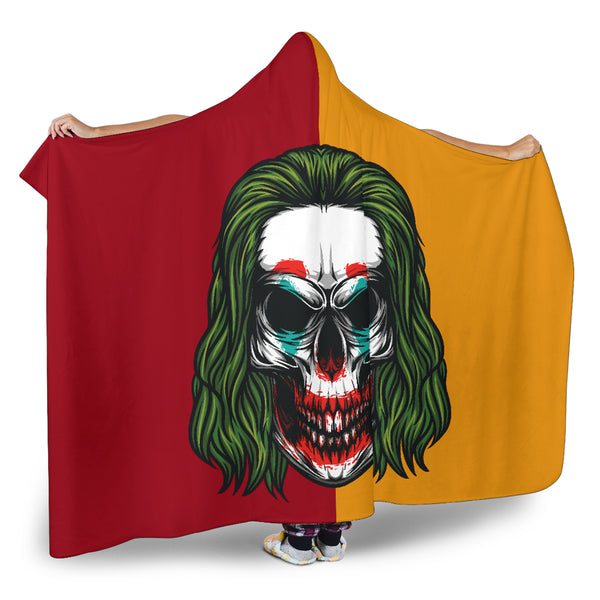 Joker Skull (Red & Orange) - Hooded Blankets