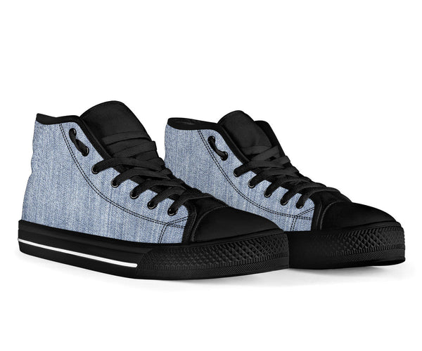 Shades of Light Denim - High Top Canvas Shoes