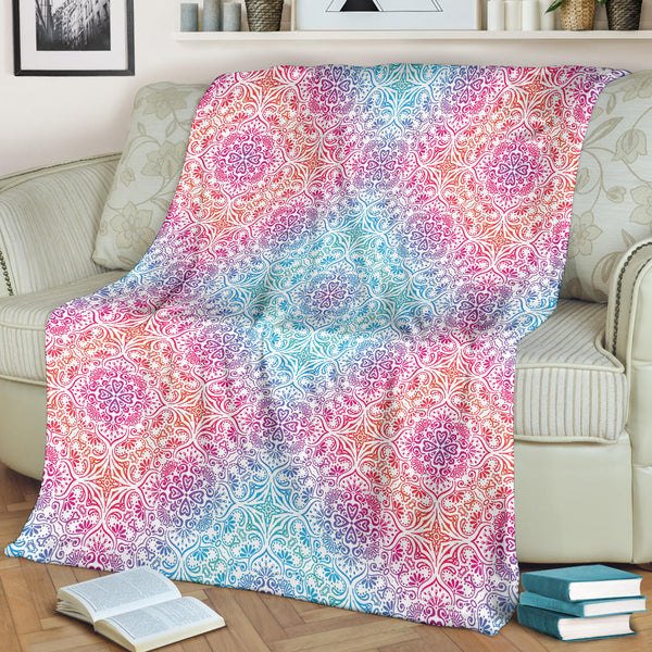 Bohemian Blue Ombre (White) - Throw Blankets