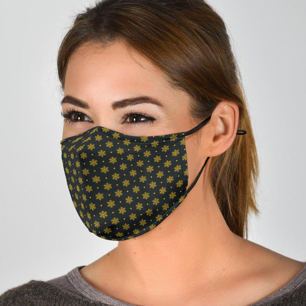 Christmas Gold Patterns (001) - Face Mask