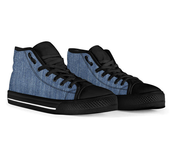 Shades of Mid Denim - High Top Canvas Shoes