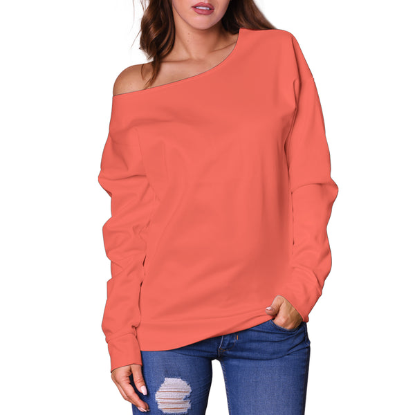 Living Coral - Women's Off Shoulder Sweater