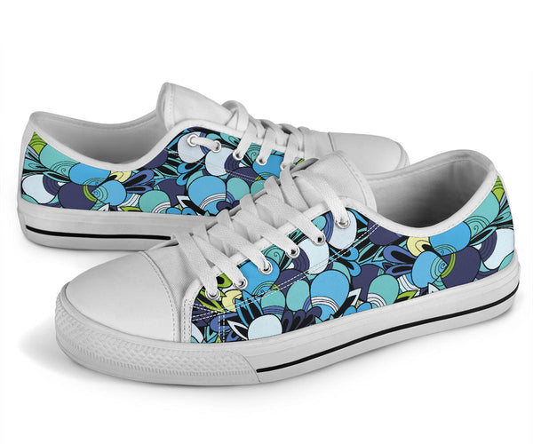 Funky Patterns (Blue) - Low Top Canvas Shoes